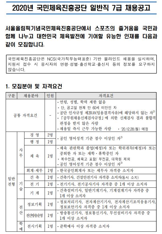 2020년 KSPO 채용공고 발췌